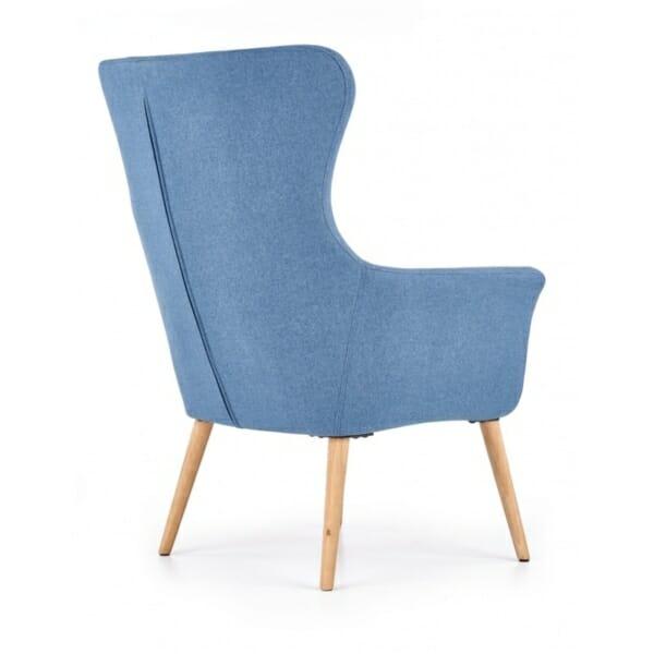 Синьо класическо кресло с дамаска и дървени крака-снимка отзад