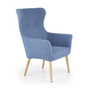 Синьо класическо кресло с дамаска и дървени крака