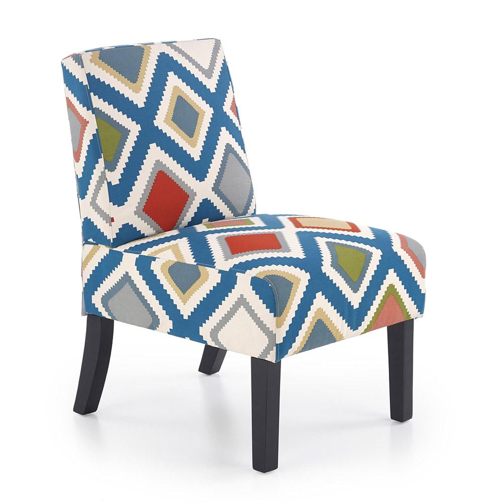 Стол със шарена дамаска и черни дървени крака
