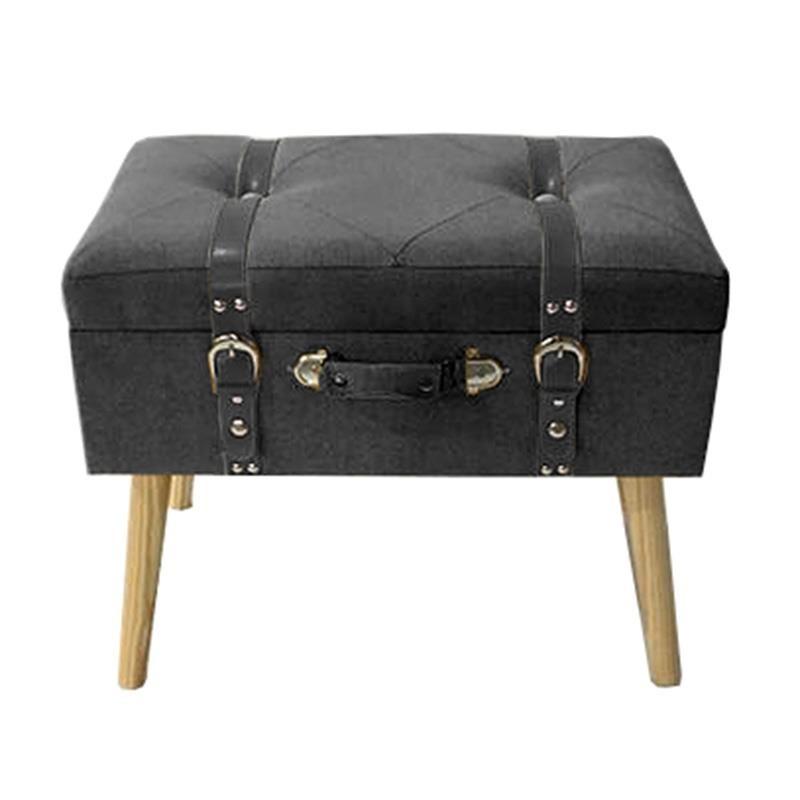 Табуретка куфар с място за съхранение - тъмносива