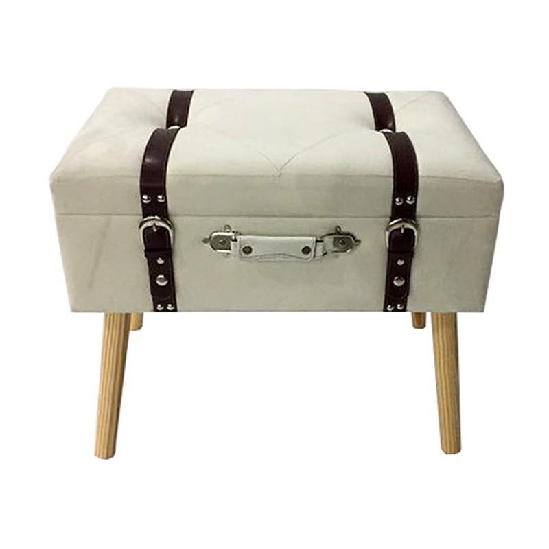 Табуретка куфар с място за съхранение - кремава