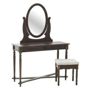 Тоалетка с огледало и табуретка