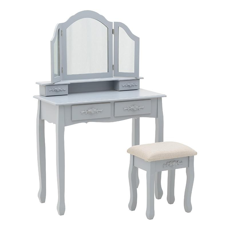 Тоалетка с три огледала и табуретка в сиво