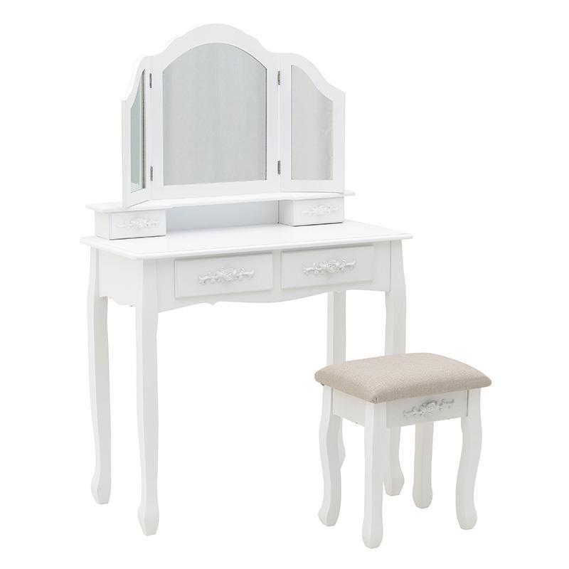 Тоалетка с три огледала и табуретка (2 цвята)