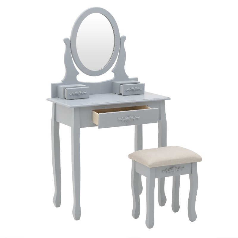 Тоалетна масичка с табуретка в сиво - отворена