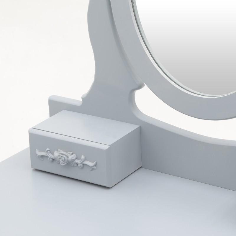 Тоалетна масичка с табуретка в сиво - отблизо