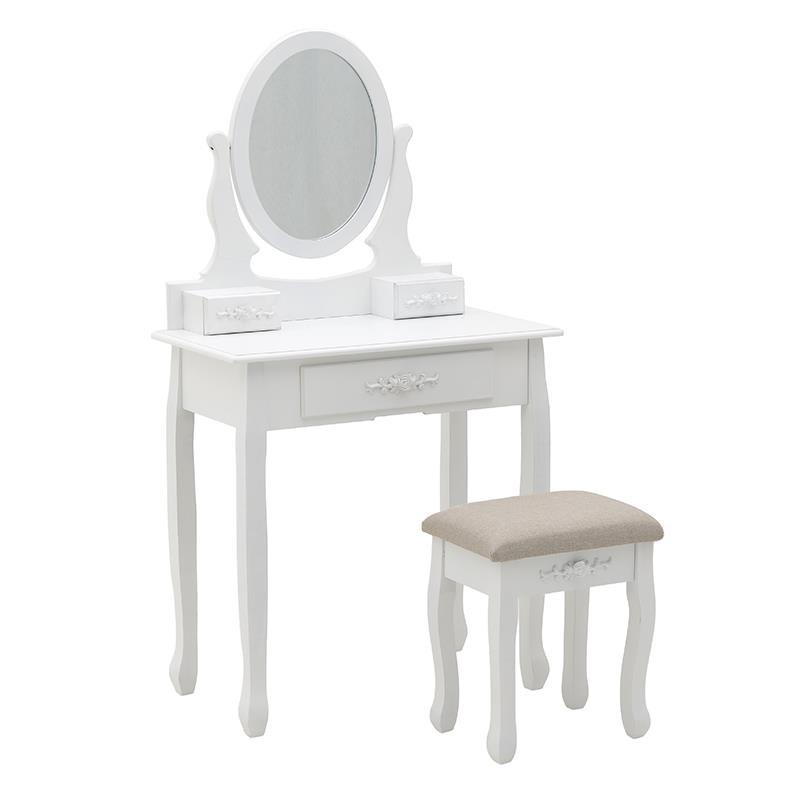 Тоалетна масичка с табуретка в бяло