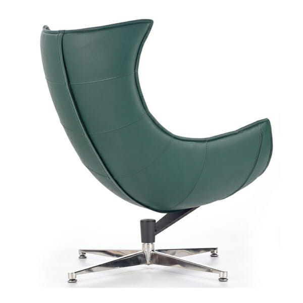 Тъмнозелено кожено кресло с яйцевидна форма-снимка отзад