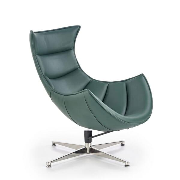 Тъмнозелено кожено кресло с яйцевидна форма