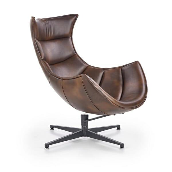 Тъмнокафяво кожено кресло с яйцевидна форма