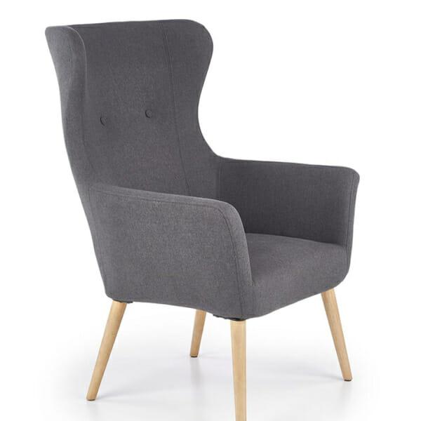 Тъмносиво класическо кресло с дамаска и дървени крака