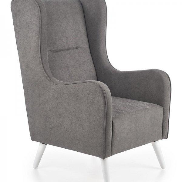 Тъмносиво кресло с класически дизайн и бели дървени крака