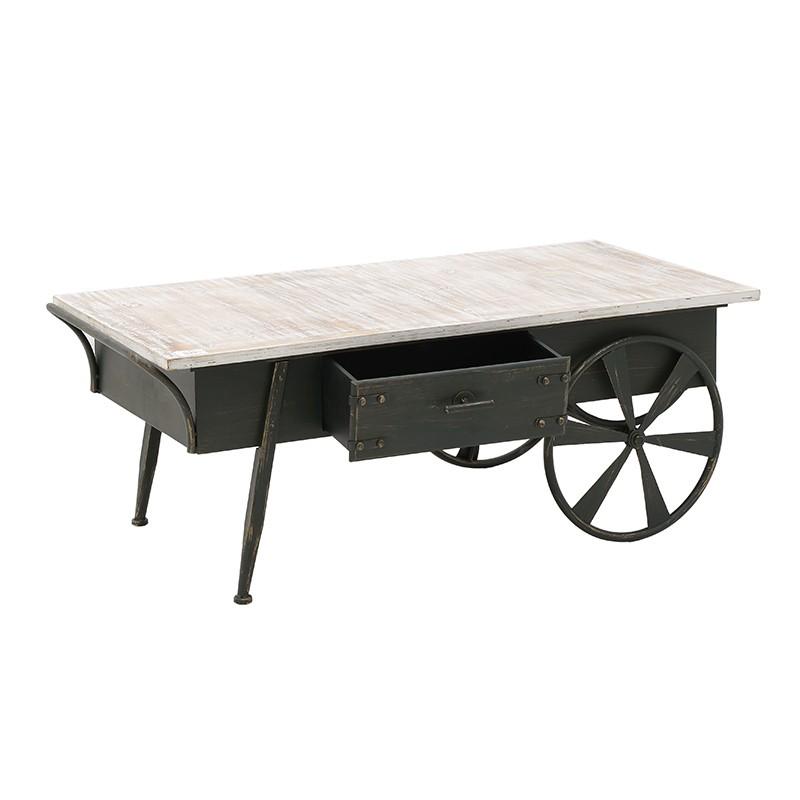 Холна маса в индустриален стил като количка с чекмедже