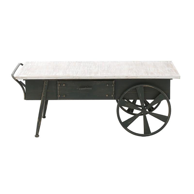 Холна маса в индустриален стил като количка - отпред