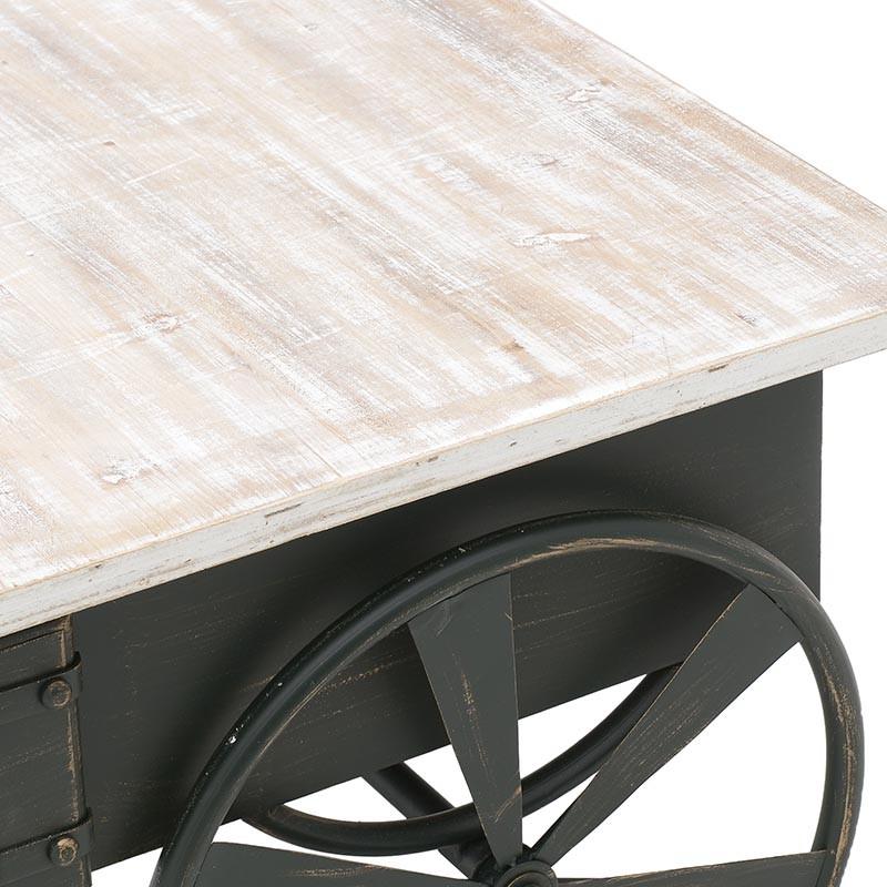 Холна маса в индустриален стил като количка - отблизо