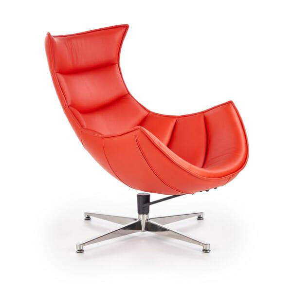 Червено кожено кресло с яйцевидна форма