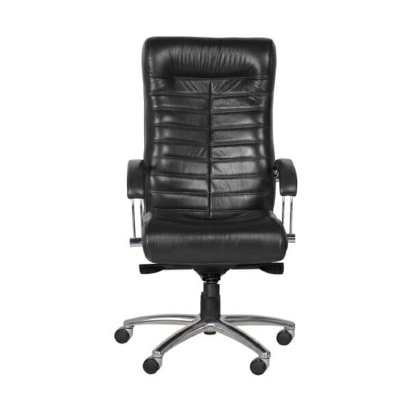 Черен директорски офис стол с естествена кожа - снимка отпред