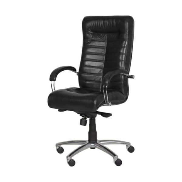 Черен директорски офис стол с естествена и еко кожа