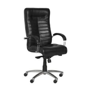 Черен директорски офис стол с естествена кожа