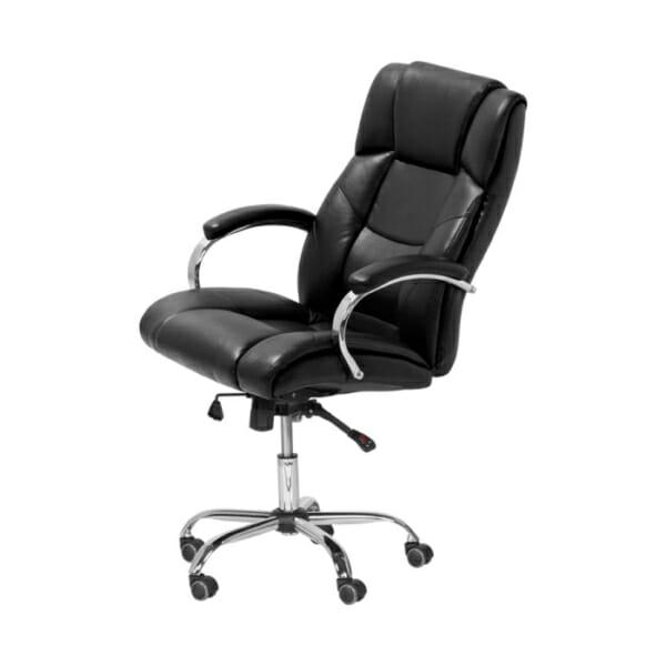 Черен кожен президентски офис стол - снимка отстрани