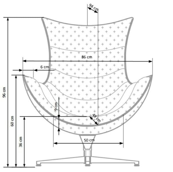 Черно кожено кресло с яйцевидна форма-размери