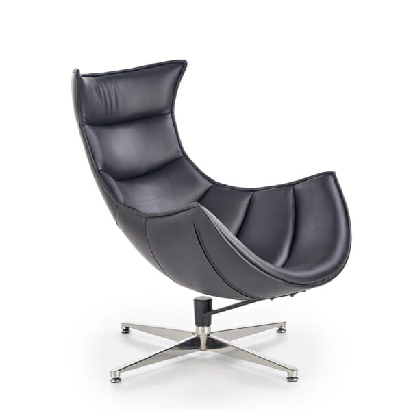 Черно кожено кресло с яйцевидна форма