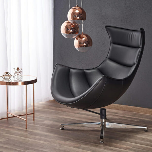 Интериор с кожено кресло с яйцевидна форма