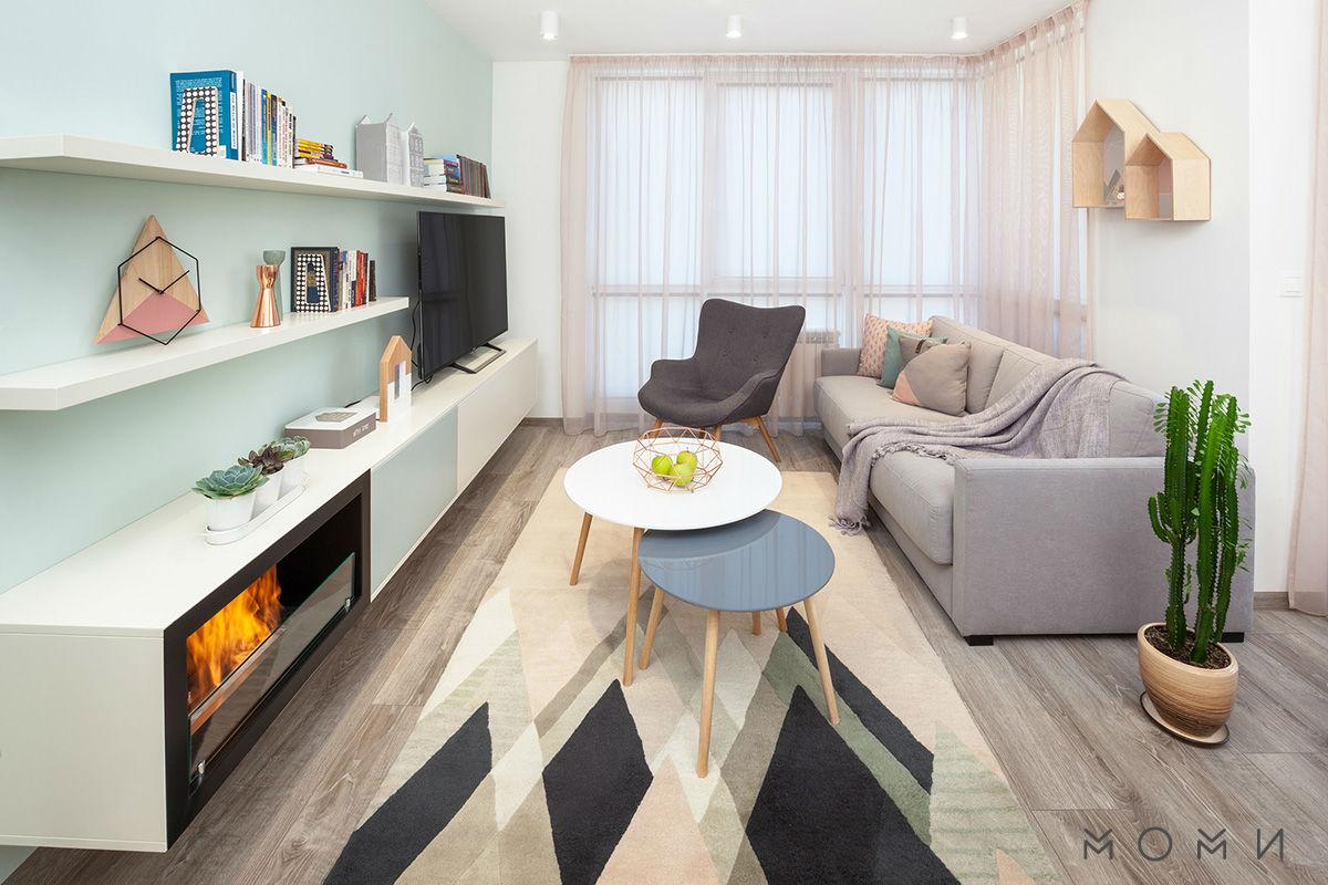Апартамент Пастелно-дневна в пастелни цветове