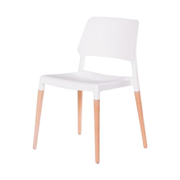 Бял пластмасов трапезен стол Scandi 013-снимка отстрани