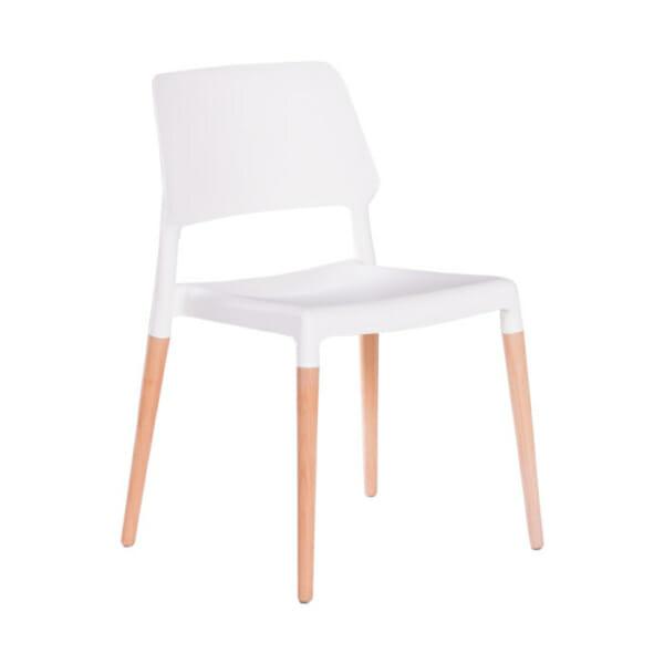 Бял пластмасов трапезен стол Scandi 013