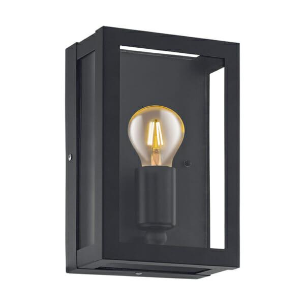 Външен аплик като стъклена кутия с метална рамка
