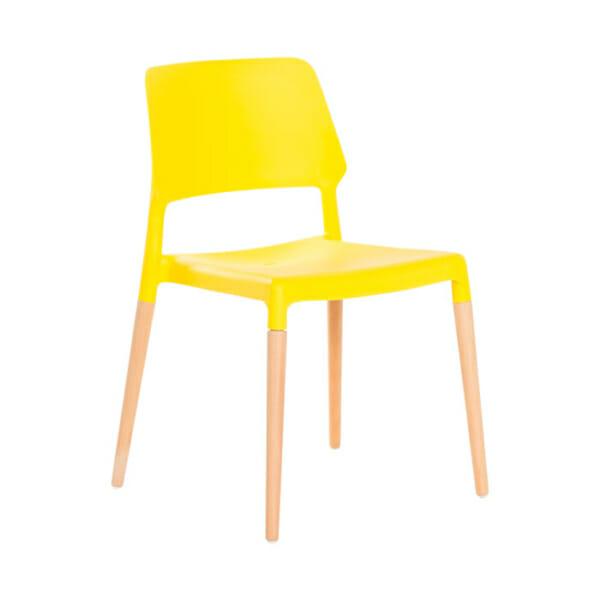 Жълт пластмасов трапезен стол Scandi 013