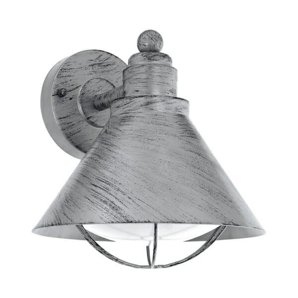 Метален фасаден аплик в индустриален стил серия Barrosela, цвят антично сребро