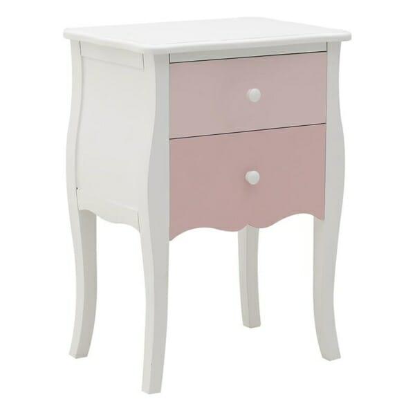 Нощно шкафче в бяло и розово с 2 чекмеджета Pink