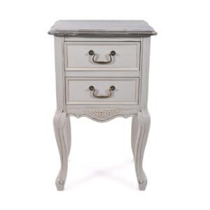 Нощно шкафче с 2 чекмеджета Retrovo - антично сиво и бяло