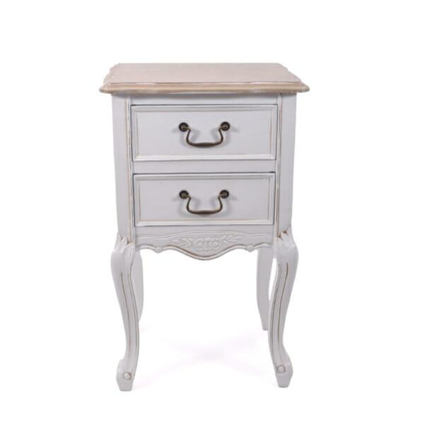 Нощно шкафче с 2 чекмеджета Retrovo - бежово и бяло