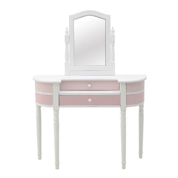 Тоалетка с огледало в розово и бяло Pink