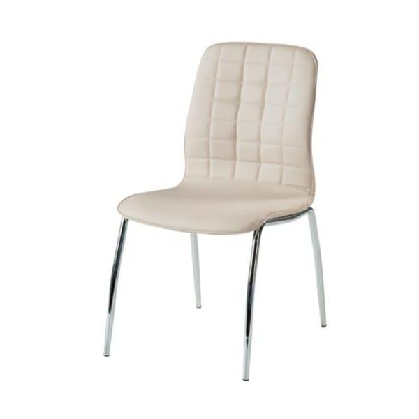 Трапезен стол от еко кожа с метални крака-цвят бледорозов-снмимка странично