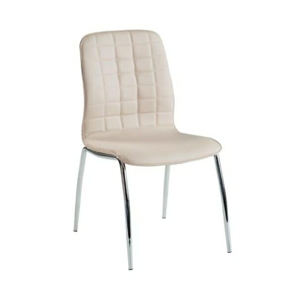 Трапезен стол от еко кожа с метални крака-цвят бледорозов
