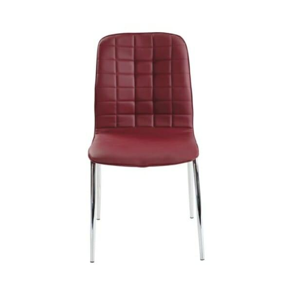 Трапезен стол от еко кожа с метални крака-цвят бордо-снимка отпред