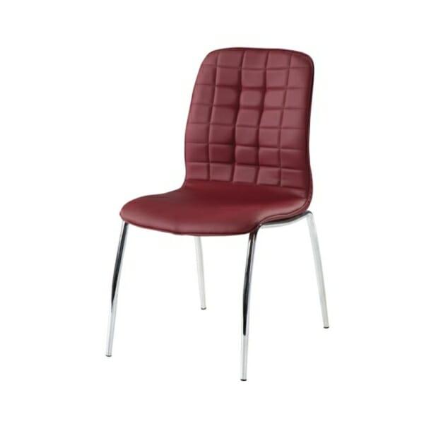 Трапезен стол от еко кожа с метални крака-цвят бордо-снимка странично