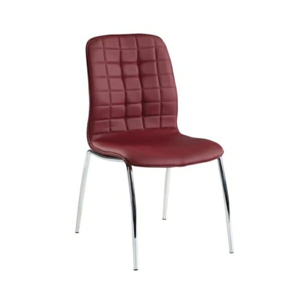 Трапезен стол от еко кожа с метални крака - цвят бордо