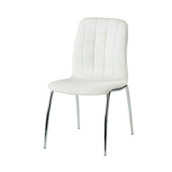 Бял трапезен стол от еко кожа с метални крака-снимка странично