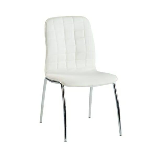 Бял трапезен стол от еко кожа с метални крака