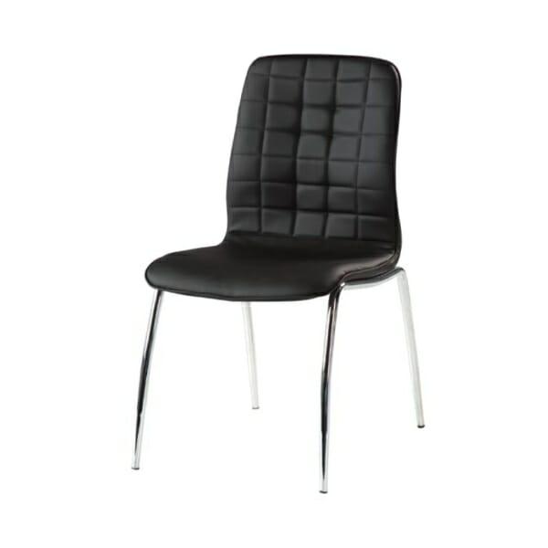 Черен трапезен стол от еко кожа с метални крака-снимка странично, модел 319