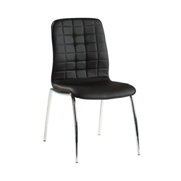 Черен трапезен стол от еко кожа с метални крака 319