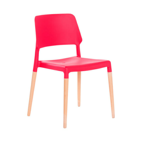Червен пластмасов трапезен стол Scandi 013