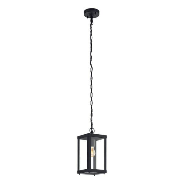 Черен външен пендел с дизайн на фенер окачен на верига