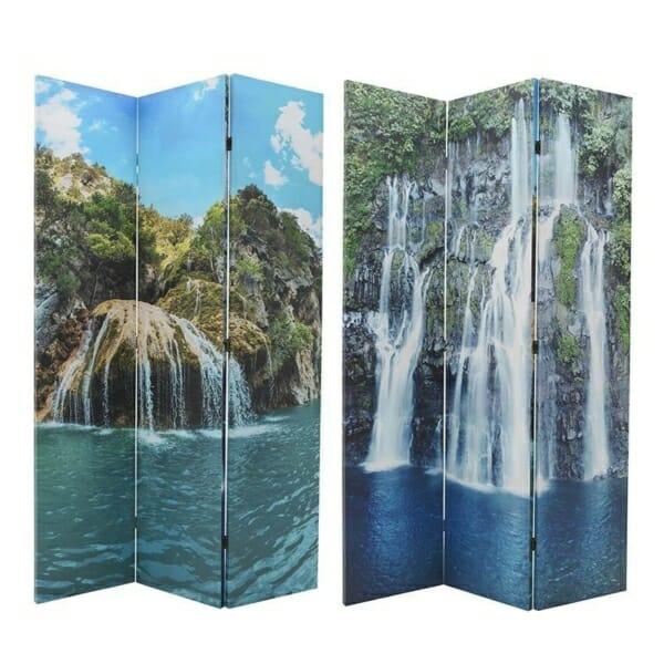 Двулицев трикрилен параван с водопади