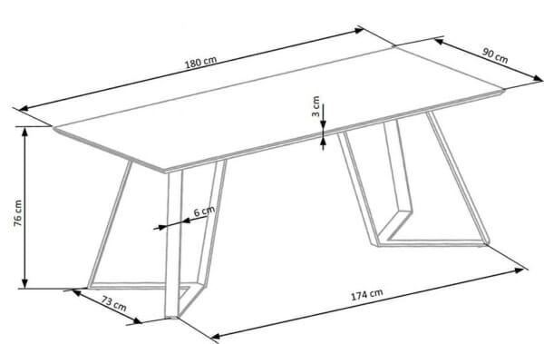 Дълга трапезна маса с правоъгълен плот Гари-размери